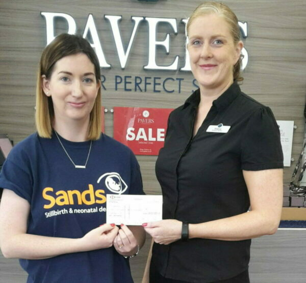 Sands NI receives £1,500 from the Pavers Foundation