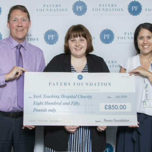 Mark Granger, Director of Operations at Pavers with Emma Bruce, Graphic Designer at our Head Office and Maya Liversidge, Community Fundraiser at York Teaching Hospital Charity