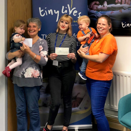 Pheobe with her Grandma, Susan Moor, Customer Advisor at Pavers in Dalton Park, Amy Patterson, Fundraising and Administration Assistant at The Tiny Lives Trust, Joe (Susan's grandchild) and Susan's daughter Katie.