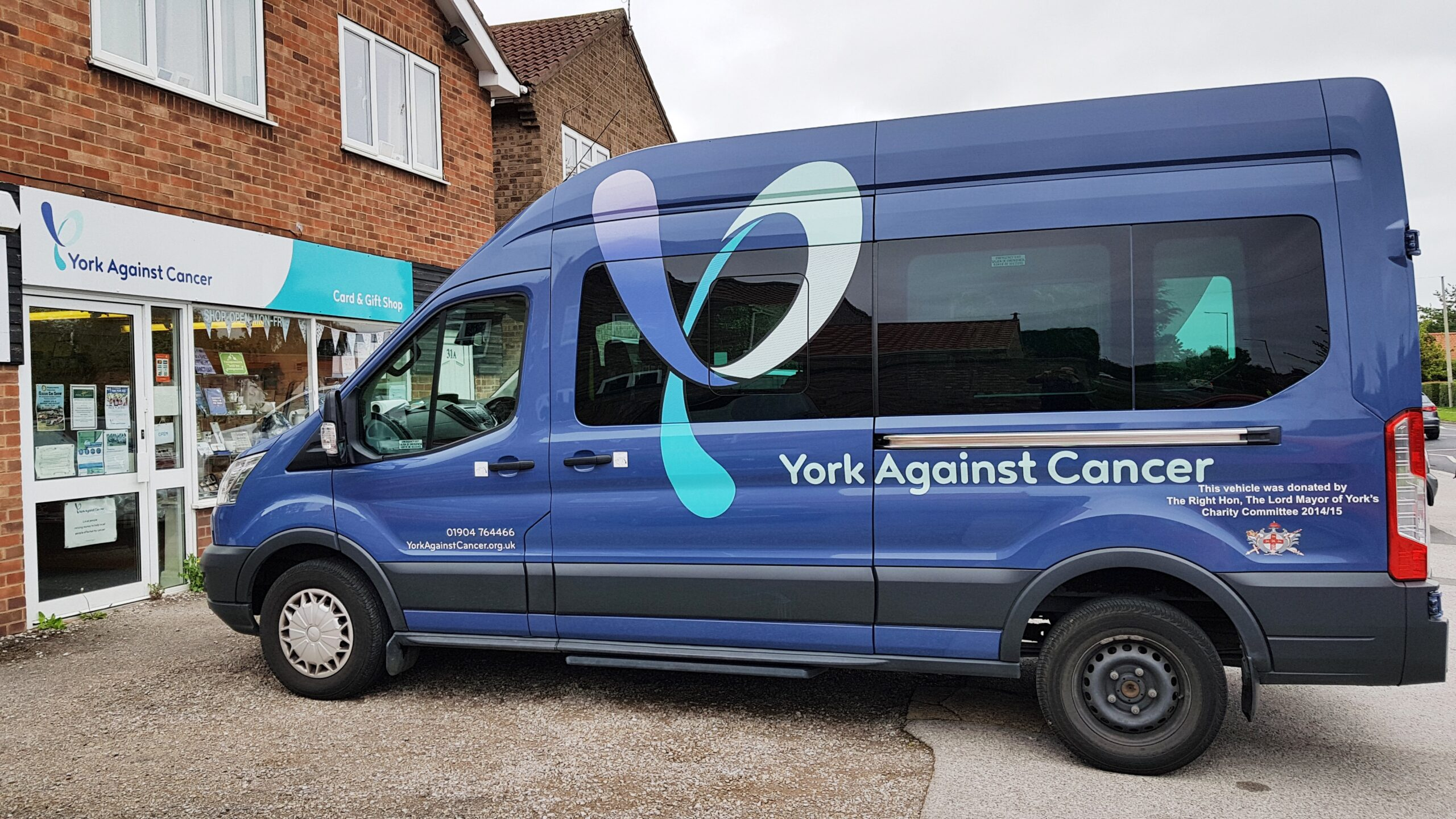 The York Against Cancer minibus at the shop.