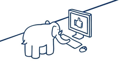 An elefriends image showing an elephant on the computer with a thumbs up on the screen