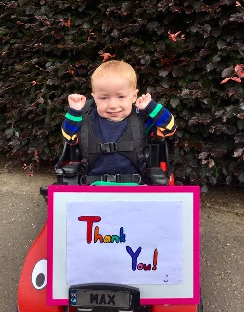 A little boy saying thank you to the Pavers Foundation for a donation to Designability