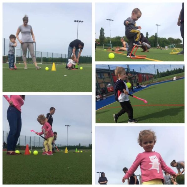 A number of images showing young members of the club learning and practising their hockey skills.