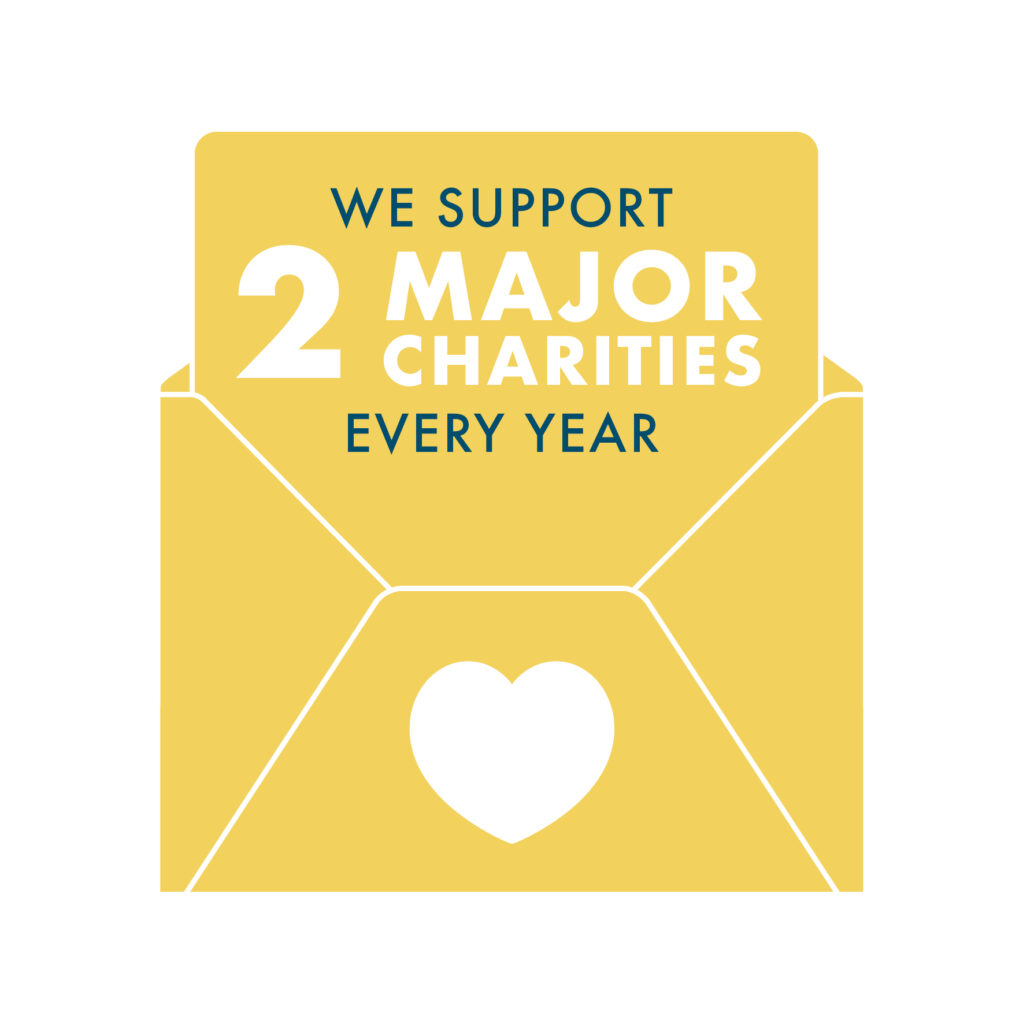 We support 2 major charities every year